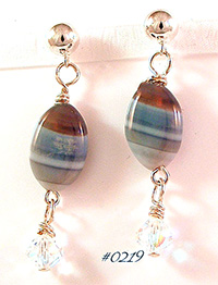 Botswana Grey Agate Gemstone & Swarovski Drop Earrings