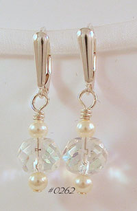 Crystal & Ivory Pearl Drop Earrings