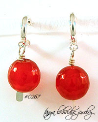 Carnelian Bold Gemstone Hoop Sterling Silver Earrings