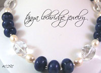 Sodalite, Crystal Quartz & Pearl Gemstone Necklace