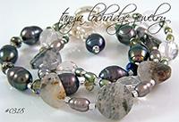 Pyrite Quartz Gemstone & Baroque Pearl Bracelet