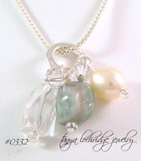 Milky Aqua, Crystal Quartz Gemstone, Pearl Necklace