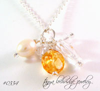 Citrine, Crystal Quartz Gemstone & Pearl Sterling Silver Necklace