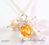 Citrine, Crystal Quartz Gemstone & Pearl Sterling Silver Necklace