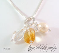 Citrine, Crystal Quartz Gemstone, Pearl Charm Necklace
