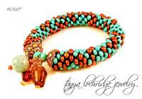 Russian Amazonite & Smoky Quartz Gemstone Bangle