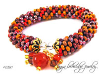 Carnelian Gemstone & Swarovski Crystal Bangle