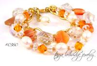 Botswana Agate, Pearl & Swarovski Crystal Bracelet