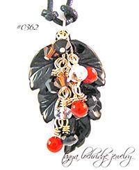 Onyx Carved Leaf & Carnelian Gemstone Pendant