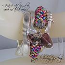 Rhodonite Gemstone & Vintage Heart Soft Bangle