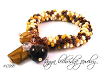 Rainbow Hickoryite & Smoky Quartz Gemstone Bangle Bracelet