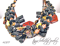 Agate, Onyx, Crystal Quartz Gemstone Necklace