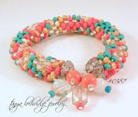 Coral & Turquoise Crystal & Snow Quartz Gemstone Bangle Bracelet