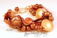 Brown-Black Mother of Pearl, Freshwater Pearl & Gold Vermeil Bracelet