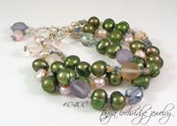 Sea Glass Pearl Sterling Silver Bracelet