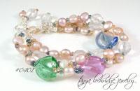 Aqua-Lilac Lampwork Bead, Crystal Quartz & Baroque Pearl Bracelet