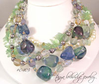 Fluorite & Aquamarine Gemstone Five Strand Necklace