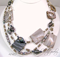 "Mother-of-Pearl Silver-Gray & Pearl 40"" Sterling Necklace"