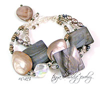 Silver Mother-of-Pearl Shell, & Pearl Sterling Bracelet
