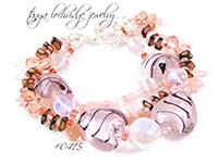 Pink & Black Heart Lampwork, Czech Glass & Rose Quartz Gemstone Bracelet
