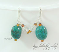 Chrysocolla Gemstone Sterling Silver Earrings