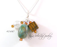 Chrysocolla & Tiger Eye Gemstone Pendant