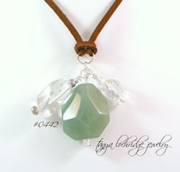 Green Aventurine & Crystal Quartz Gemstone Pendant