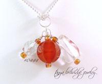 Carnelian & Crystal Quartz Gemstone Pendant
