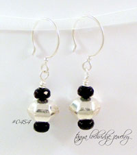 Sterling Silver Hexagonal Bead Drop Earrings