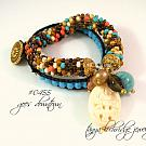 Russian Amazonite & Smoky Quartz Gemstone & Floral Carved Bead Soft Bangle