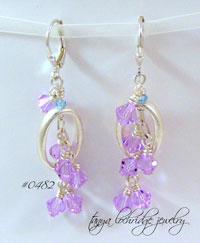 Fleur-de-Lis Sterling Silver & Alexandrite Swarovski Crystal Earrings