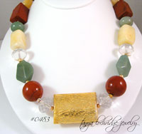 Red Poppy Jasper, Green Aventurine, Aragonite & African Opal Gemstone Necklace