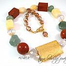 Red Poppy Jasper, Green Aventurine, Aragonite & African Opal Gemstone Necklace