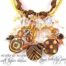 Knotted Charm Collector's Czech Glass Cord Necklace