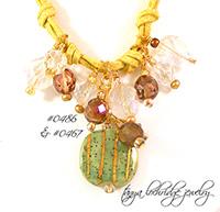 Kazuri Bead Spearmint & Gold Charm