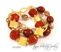 Carnelian Gemstone & Gold Vermeil Bracelet