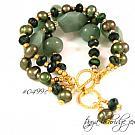 Green Aventurine & Freshwater Pearl Gold Vermeil Bracelet