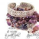 Amethyst Gemstone Multi-Strand Sterling Silver Bracelet