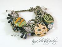 Kazuri Bead Green, Gold & Gunmetal Bead Bracelet