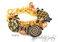 Kazuri Bead Three's the Charm Black & Gold Bracelet