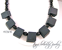 Onyx Brick Gemstone & Czech Glass Sterling Silver Necklace