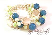 Angelite & Silver Leaf Five Strand Bracelet
