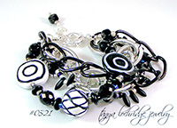Kazuri Bead Black & White Collection Multi-Strand Bracelet