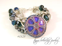 Blue-Gunmetal Vintage Czech Glass Button & Pearl Bracelet
