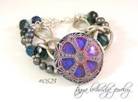 Blue-Gunmetal Vintage Czech Glass Button & Pearl Bracelet