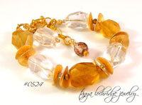 #0524 Yellow Calcite & Crystal Quartz Bracelet