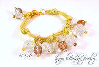 Knotted Charm Collector's Czech Glass Cord Bracelet Natural