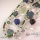 Fluorite & Crystal Quartz Gemstone Necklace