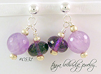 Amethyst Gemstone Sterling Silver Drop Earrings