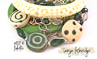 Kazuri Bead Cream & Greenwood Collection Bracelet